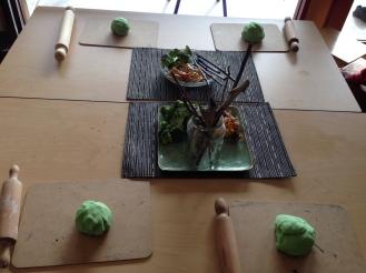 Play dough table ready to go