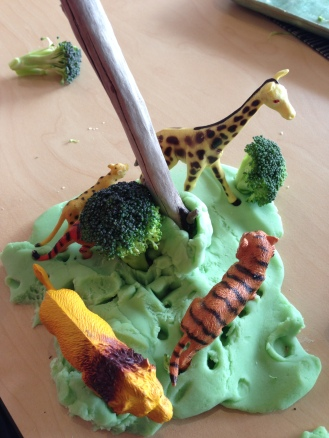 Play dough and broccoli jungle trees